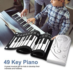 Free shipping 49 key hand roll electronic piano portable folding soft Flexible keyboard roll up piano with speaker