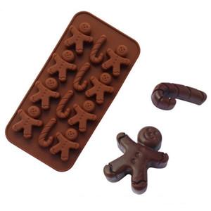 Silicone Gingerbread Man Béquille Moule 12 Grille chocolat pain d'épice de Noël gâteau Fondant Moule 21 * 10.5 * 1.5cm DHA1321