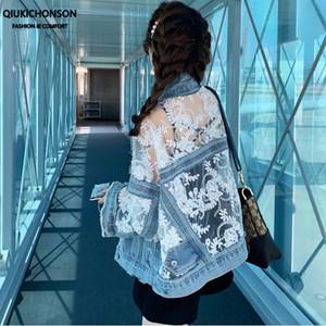 Qiukichonson mode coréenne broderie dentelle Patchwork Jeans Veste Femmes Eté Ripped Fringe Denim Vestes chaquetas tejanas