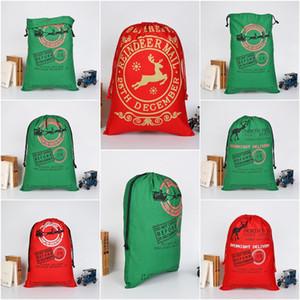 Paquete de bolsillo de tela de algodón bolsa con cordón 2020 de regalo de Navidad impresa de Navidad de Navidad de la lona con asas de los niños bolsa de regalo T9I00572