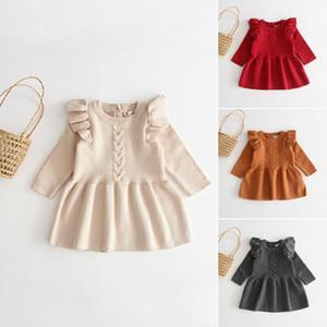 Дети Лето Чистый цвет платья хлопка Младенческая младенца Сторона А-линия с длинным рукавом Sweety Дети Sundress Симпатичные Осень принцессы платье