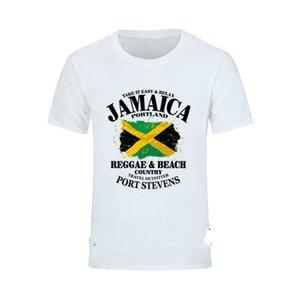 Сшитое с коротким рукавом Pre-хлопок Ямайка Флаг Fingerprint T Shirt Men Casual Большой размер Мужчины T-Shirt Tshirt ahegao Кор