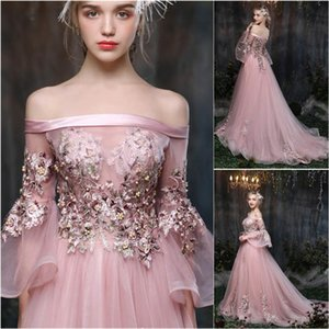 Tulle Long Sleeve Formal Dresses Custom Prom Party Gown Applique A Line Evening Dress Bateau Backless Lace up Beaded