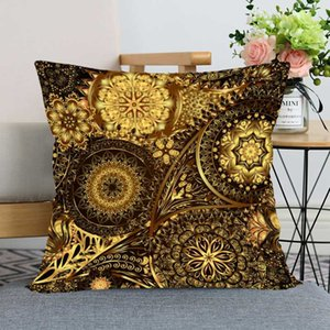 New Gold Floral Pillow Case For Home Decorative Pillows Cover Invisible Zippered Throw PillowCases 40X40,45X45cm