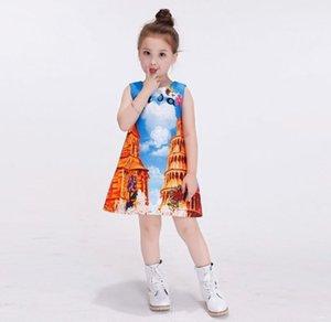 2016 Детей девочка Платье без рукавов Италия Пизанской башни Известных Пятен принцессы высокого качество жаккард Ребенок платье Одежда K7519