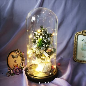 Christmas Tree Rose In Flask Ornaments Decoration Artificial Flowers In Glass LED Light For Christma Birthday Valentine's Day