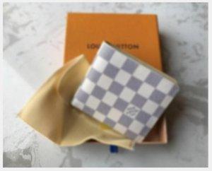 2020 nouveau sac gratuit expédition billfold de haute qualité Plaid hommes portefeuille femmes motif Pures portefeuille concepteur de haut de gamme avec boîtier 118