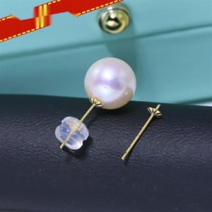 UShKF DIY Diy Ohrringe Zubehör earringsG18K Goldohrring leer Unterstützung AU750 feste Ohrring earplug Blumenplatte handgemachte Accessoires Matte