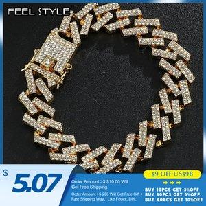 15MM кубинской цепи Bling Iced Out Full Rhinestone браслет Геометрическая CZ камень браслеты для мужчин Hip Hop Ювелирные изделия