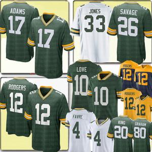2020 그린만패커 유니폼 (12 개) 아론 로저스 (17) 다반 테 아담스 사랑 뉴저지 다넬 세비지 주니어 아론 존스 브렛 파브르 지미 그레이엄
