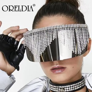 Miroir surdimensionné diamant Tassel Lunettes de soleil Femmes Hommes luxe strass Big Mask Frame Goggle Silver Shade Lunettes UV400