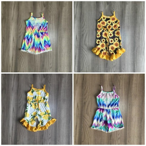 girls clothes milk silk halter tie dyed sunflower lemon ruffle Summer cotton baby kids One-piece garment suit jumpsuit clothes 0926