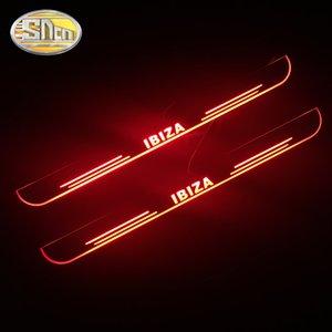 4шт Водонепроницаемые акриловые Moving LED Добро пожаловать педали автомобиля Scuff педаль Тарелки дверь Sill Тропинка свет для Seat Ibiza 6J 6k 6l