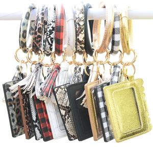 Bangle Bracelet Card Bag Wallet Keychain Wristlet Keyring Leopard handbag Leather Bracelet Keychain Credit Card holder with Tassel