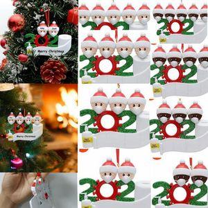 2020 Yılbaşı Noel Asma Süsler Aile Survivor Karantina Ağacı Dekoru AHŞAP beyaz 2 3 4 5 6 7 Aile Kişiselleştirilmiş kolye LJJK2482