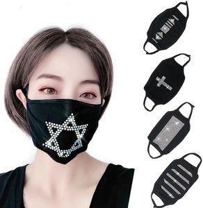 горячего способа печати многоразовых женщин флэш-Алмазный Rhinestone черный хлопок Star Mask Мода Ночной клуб партии Маски