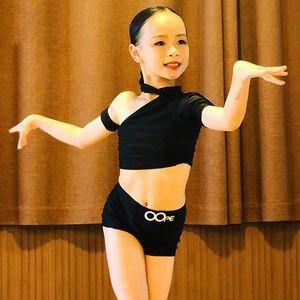 Girl's Latin Dance Tops Pant Black Practice Suit Summer Children American Clothing Special Design Costume For Teens Samba 4189