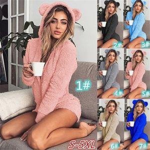 Frauen-Pyjamas Sets Flanell Cute Animal Pyjamas Kits Damen Herbst und Winter einteiligen Overall Negligés Pyjamas Nachtwäsche Homewear HL9372