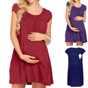 TELOTUNY Ladies Pregnant Short Sleeve Pregnant Maternity Dress Solid Color Ruffle Nursing Pleated Breastfeeding Dress L0114