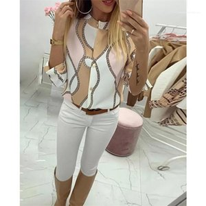 Fit Casual Famale Clothes Womens Designer Chain Print Shirt Spring Stand Collar Long Sleeve Fashion Slim