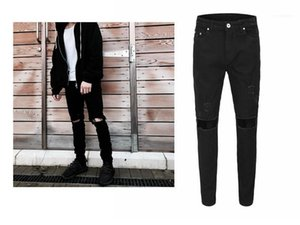 Casual Mens Clothing Trendy Mens Ripped Pencil Jeans Summer Zipper Fly Mid Waist Jeans Fashion