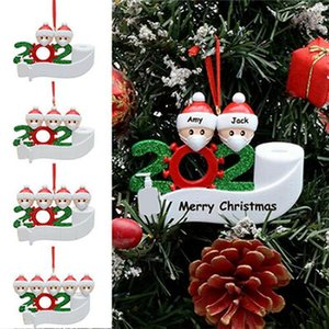 2020 Quarantine Ornament Christmas Tree Hanging Pendant DIY Name Blessing Pendant with Hand Sanitized Christmas Ornament Sea Shipping