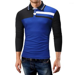 Polo Shirt Casual Long Sleeve Slim Fit Polos Male Spring Fashion Top Mens Lapel Stitching