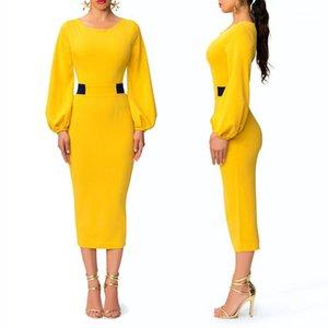 Fashion Rundhalsausschnitt Damen Panelled Spalte Kleider Designer-Laterne-Hülsen-Kleid-Frauen-elegante süße Farbe Vintage-Kleider
