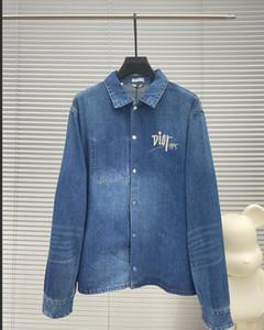 220FW última carta chaqueta de la chaqueta de cuero de la moda de alta calidad de alta calidad de ropa de caballero diseñador de la motocicleta de la parte superior de cuero natural Pareja de mezclilla jacke