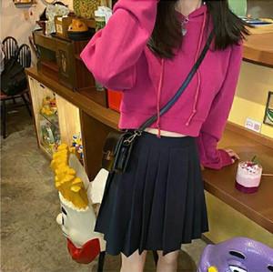 Women's long-sleeved T-shirt women 2020 autumn new short knit sweater t-shirt high waist loose casual jacket top