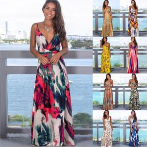 2020 Multicolor été Jungle tropicale Feuille Boho Robe longue écharpe croisée dans le dos Femme col V Night Party Sexy élégant Robes