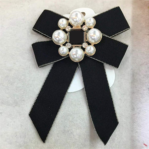 Лук лента Брошь Pin ювелирные изделия для женщин Перл Pins и брошь Большого воротника булавки для женщин Рубашки Пальто Юбки Одежды
