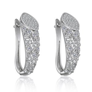 XIUMEIYIZU Luxury CZ Stud Earring Fashion Bending Design Korean style Paved Full Zircon Temperament Wedding Party Earring