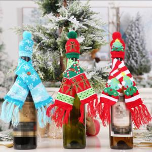 Nova malha Scarf Botão Wine Bottle Capa enfeites Gingerbread Man Árvore do floco de neve Cachecol Hat Tampa
