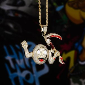 Hip Hop Death God 's Sickle Pendant Necklace Gold And Silver Necklace Creative Design Hip Hop Jewelry