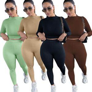 Frauen Tracksuits Sexy Langarm-Outfits Damen Zweiteiler Anzüge Sports Yoga-Sets Herbst Crop Tops Pants Set Frauen Sportswear 050905