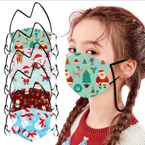 Дети Дети Маски Рождество Санта-Клаус Маски Lanyard Rope Вручать маска на шее Печать Рот Обложка Dustpoof Защитная маска LSK1179