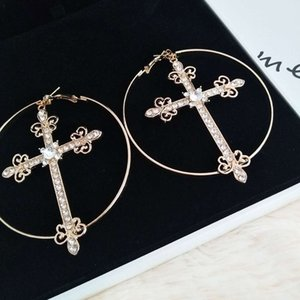 Hot Sale Personality Exaggerated Cross Women Charm Night Club Party Ladies Earrings Fashion Big Circle Hip Hop Stud for Girls