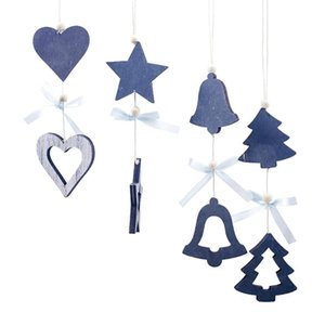 4pcs / Seti Ahşap Noel ağacı Yıldız Kalp Bell kolye Süsler Dekor Yılbaşı Ağacı Toppers Asma