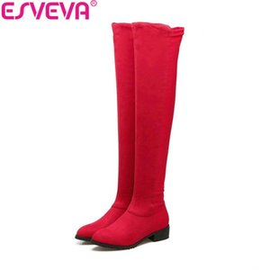 ESVEVA 2020 Women Boots Round Toe Boots Short Plush Over The Knee Suede Square Med Heels Slim Look Ladies Size 34-43