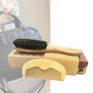 Capelli pettine della spazzola Set fornitore all'ingrosso Cinghiale Setola Spazzola Peach legno pettine districante capelli ricci