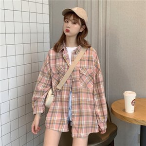 2PPDe Spring loose Autumn 2020 new student and long wind Net red plaid BF shirt sleeve shirt fashionable 529# azG6H