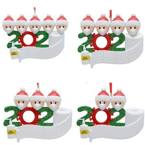 people Quarantine Christmas Decoration Birthdays Party Gift Product Personalized Of 4 Ornament Pandemic with Face Masks Hand HWC2302