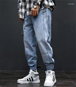 Cepler Hiphop Loose ile Açık Mavi Erkek Jeans Moda Uzun Erkek Kargo Pantolon