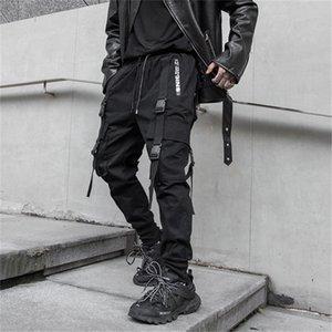 April MOMO 2020 Ribbon Design Cargo Harem Pants Mens Casual Jogger Streetwear Hip Hop Trousers Male Elastic Waist Black Joggers 0921