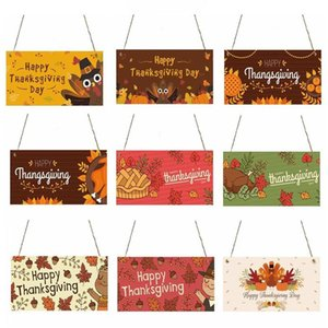 Thanksgiving Wooden Sign Thanksgiving Hanging Plaque Cartoon Pattern Porch Decorative Wooden House Bars Clubs Door Hanging Signs DHC1508