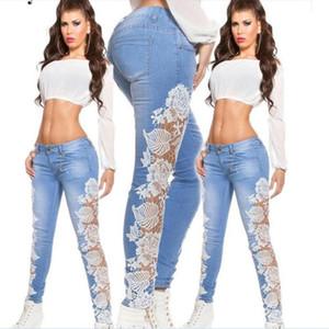 Joineles blanco del cordón del remiendo Mujeres Vaqueros atractivo caliente del dril de algodón pantalones flacos Mujeres Lápiz Pantalones Plus estiramiento del tamaño Los pantalones vaqueros lavados