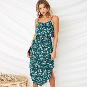 Designer Luxus-Kleid Drucken mit hoher Taille Bandge Split Unregelmäßige Kleider Sexy Fashion Casual Weibliche Kleidung der Frauen