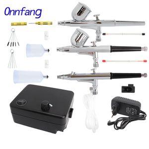Kit compressore aerografo aerografo a doppia azione Onfang 0.2 / 0.3 / 0.4 / 0.5mm vernice spray pistola tatuaggio manicure artigianale torta spray pistola per unghie strumento