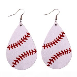 2018 New Trendy Softball Baseball Soccer Golf Genuine Leather Teardrop Round Leaf Statement Earrings Round Disc Leather Drop Earrings